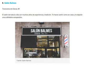 Salón Balmes dentro de las 10 mejores barberias de Barcelona